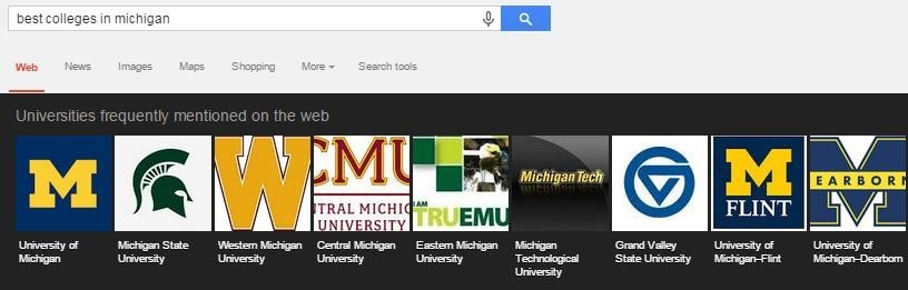 google serp best colleges in michigan